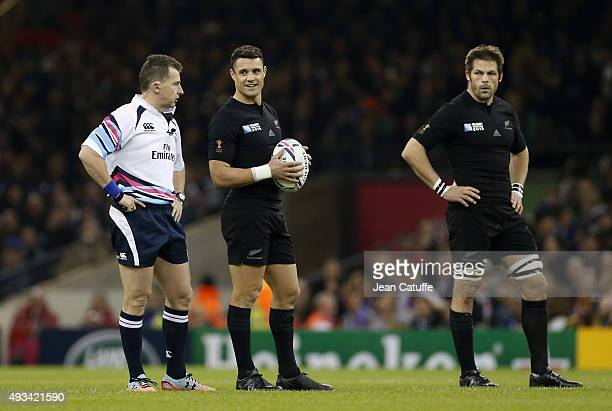 Referee Nigel Owens of Wales Dan Carter and Richie McCaw of the New Zealand All Blacks look on before the kick off of the 2015 Rugby World Cup...