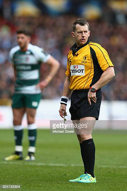 Referee Nigel Owens of Wales during the European Rugby Champions Cup SemiFinal match between Leicester Tigers and Racing 92 at the City Ground on...