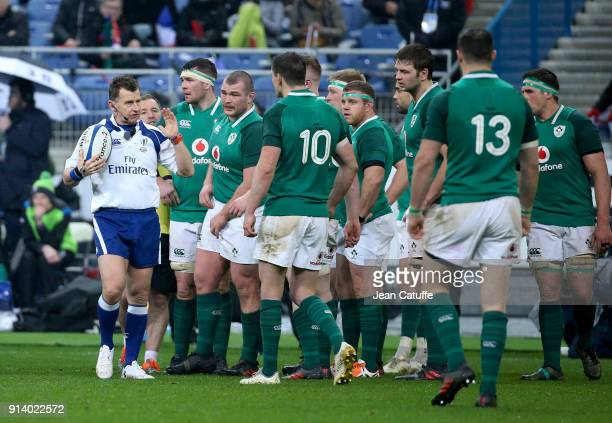Referee Nigel Owens of Wales during the NatWest 6 Nations match between France and Ireland at Stade de France on February 3 2018 in SaintDenis near...