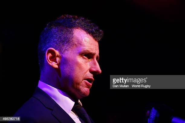 Referee Nigel Owens of Wales speaks to the media during the World Rugby Awards 2015 at Battersea Evolution on November 1 2015 in London England