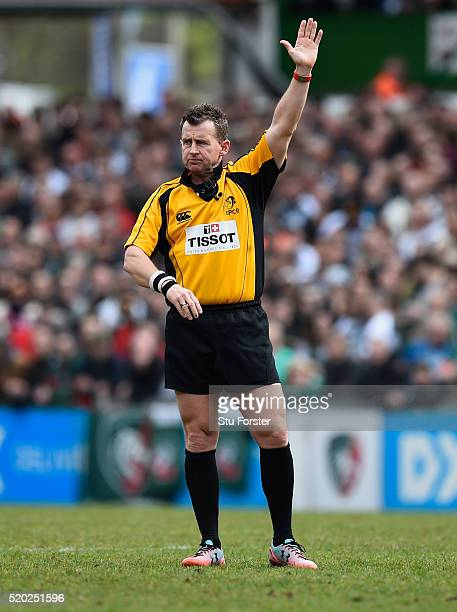 Referee Nigel Owens reacts during the European Rugby Champions Cup Quarter Final match between Leicester Tigers and Stade Francais Paris at Welford...