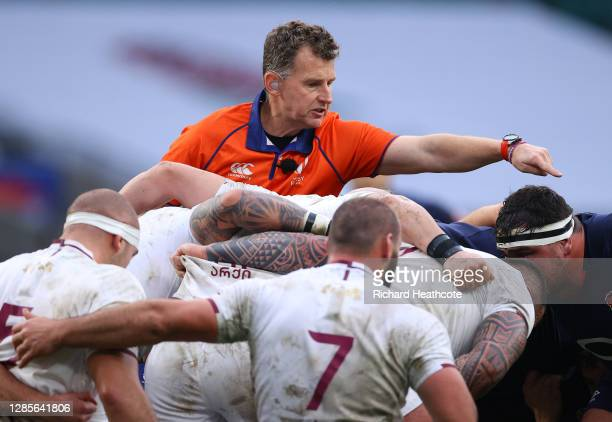 Referee Nigel Owens watches the scrum during the 2020 Autumn Nations Cup, Quilter International match between England and Georgia at Twickenham...