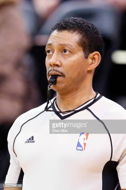 Referee Offical Bill Kennedy looks on during the game between the Detroit Pistons and Utah Jazz on January 25 2016 at the Vivint Smart Home Arena in...