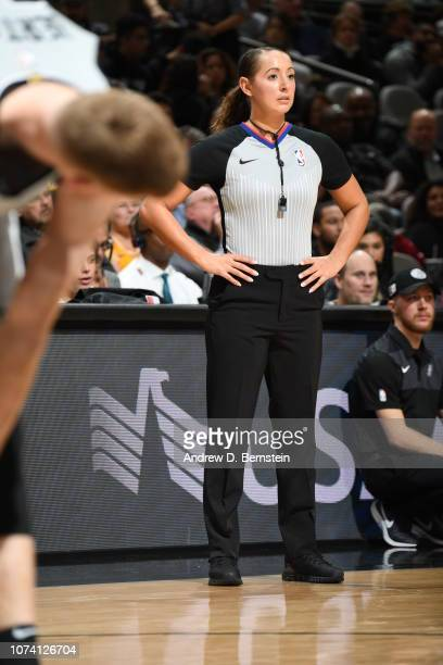 Referee official Ashley MoyerGleich looks on during the game between the Los Angeles Lakers and San Antonio Spurs on December 7 2018 at ATT Center in...