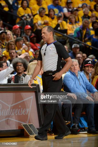 Referee official Eric Lewis looks on during Game Two of the Western Conference Semifinals of the 2019 NBA Playoffs between Golden State Warriors and...