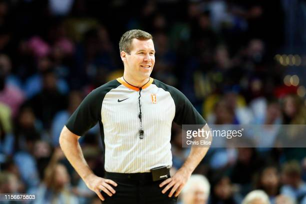 Referee official Matt Kallio looks on during a game between the Dallas Wings and Los Angeles Sparks on July 18, 2019 at the Staples Center in Los...