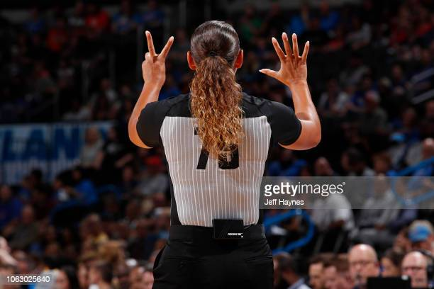 Referee offiicial Ashley MoyerGleich makes a signal during the game between Detroit Pistons and Oklahoma City Thunder during a preseason game on...