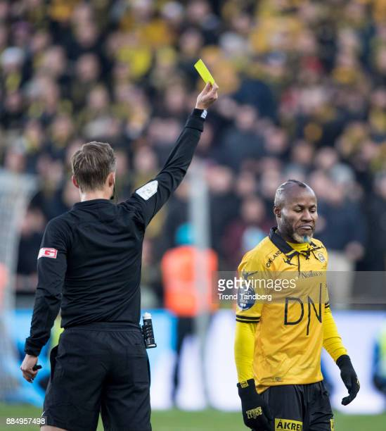Referee Ola Hobber Nilsen Chigozie Udoji during Norway Cup Final between Sarpsborg 08 v Lillestrom at Ullevaal Stadion on December 3 2017 in Oslo...