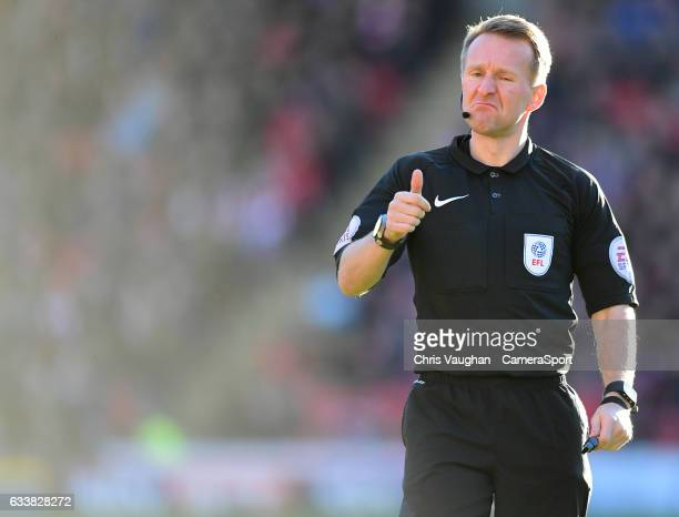 Referee Oliver Langford during the Sky Bet Championship match between Barnsley and Preston North End at Oakwell Stadium on February 4 2017 in...