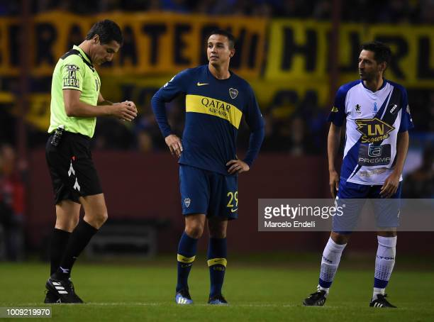 Referee Pablo Echavarria enter to referee during a match between Boca Juniors and Alvarado as part of Round of 64 of Copa Argentina 2018 on August 1...