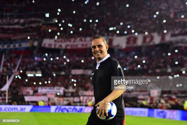 Referee Pablo Lunati walks onto the field prior Fernando Cavenaghi's farewell match at Monumental Stadium on July 01 2017 in Buenos Aires Argentina