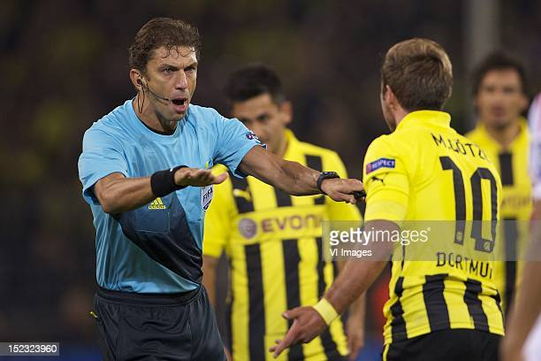 referee Paola TagliaventoMario Gotze of Borussia Dortmund during the Champions League match between Borussia Dortmund and Ajax Amsterdam at the...
