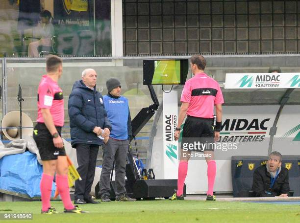 Referee Paolo Tagliavento looks VAR during the serie A match between AC Chievo Verona and US Sassuolo at Stadio Marc'Antonio Bentegodi on April 4...