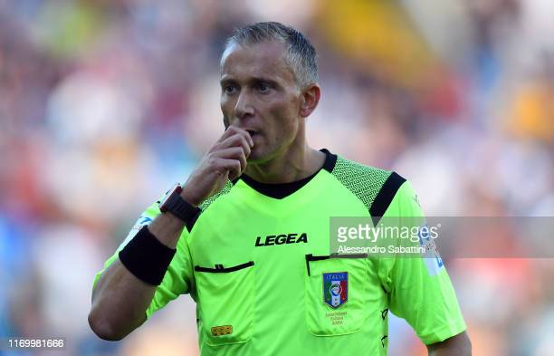 Referee Paolo Valeri during the Serie A match between Udinese Calcio and Brescia Calcio at Stadio Friuli on September 21, 2019 in Udine, Italy.