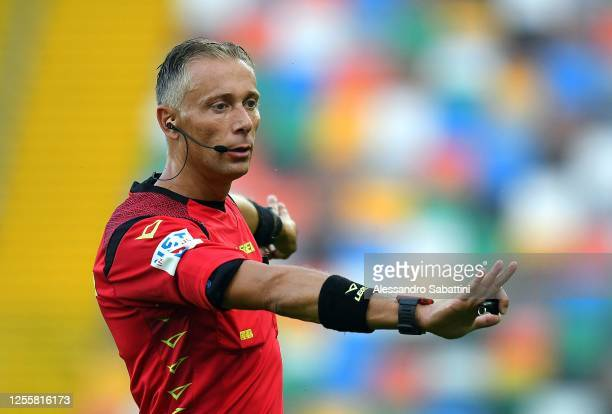 Referee Paolo Valeri gestures during the Serie A match between Udinese Calcio and UC Sampdoria at Stadio Friuli on July 12, 2020 in Udine, Italy.
