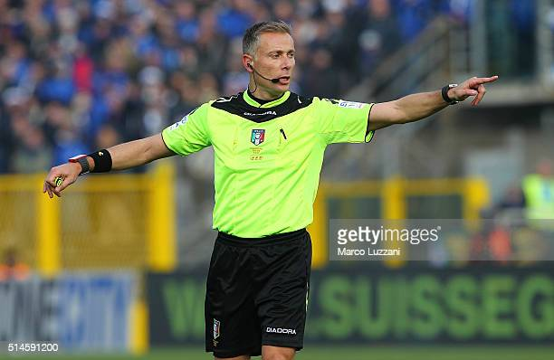 Referee Paolo Valeri gestures during the Serie A match between Atalanta BC and Juventus FC at Stadio Atleti Azzurri d'Italia on March 6 2016 in...