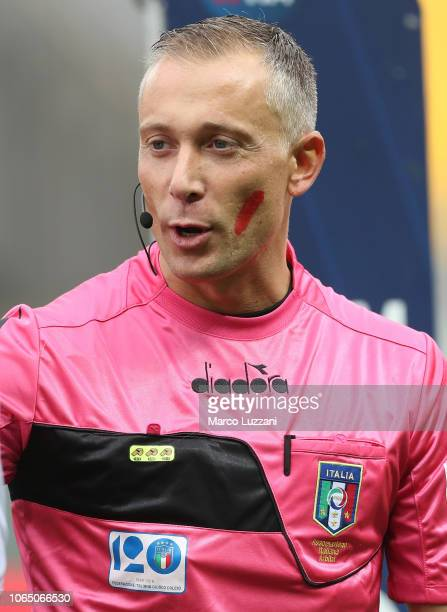 Referee Paolo Valeri show the red mark on the face to support the campaign Un Rosso Alla Violenza before the Serie A match between Parma Calcio and...