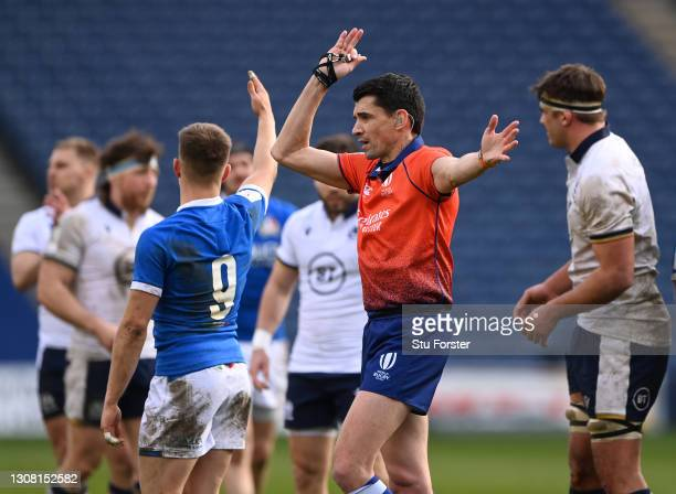 Referee Pascal Gauzere makes a decision during the Guinness Six Nations match between Scotland and Italy at Murrayfield on March 20, 2021 in...
