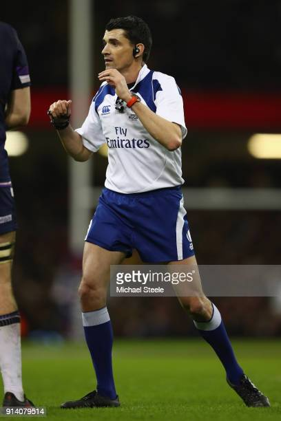 Referee Pascal Gauzere of France during the NatWest Six Natons match between Wales and Scotland at the Principality Stadium on February 3 2018 in...