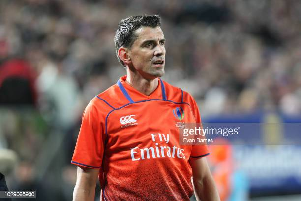 Referee Pascal Gauzere of France during The Rugby Championship between the New Zealand All Blacks and Argentina at Trafalgar Park on September 8 2018...