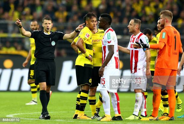 Referee Patrick Ittrich shows the sign for the video assistanf during the Bundesliga match between Borussia Dortmund and 1 FC Koeln at Signal Iduna...