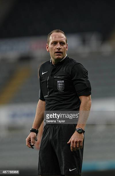 Referee Paul Newhouse during the U21 Premier league match between Newcastle United and Arsenal at StJames Park on September 11 in Newcastle upon Tyne...