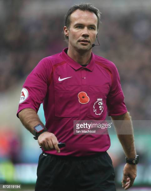 Referee Paul Tierney is seen during the Premier League match between Newcastle United and AFC Bournemouth at St James Park on November 4 2017 in...