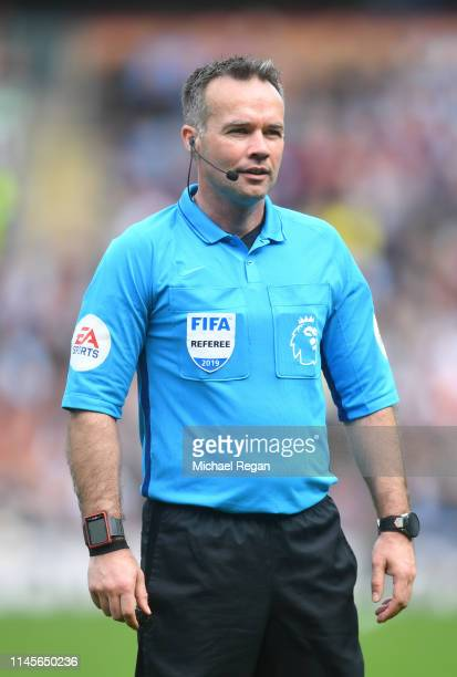 Referee Paul Tierney looks on during the Premier League match between Burnley FC and Manchester City at Turf Moor on April 28 2019 in Burnley United...
