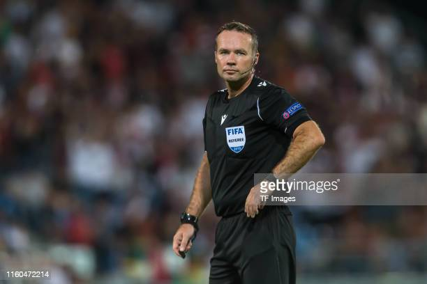 referee Paul Tierney looks on during the UEFA Europa League Third Qualifying Round match between FC Vaduz and Eintracht Frankfurt on August 8 2019 in...