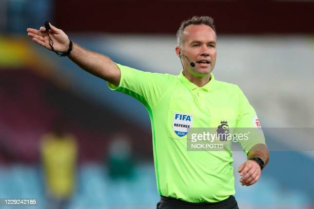Referee Paul Tierney oficiates during the English Premier League football match between Aston Villa and Leeds United at Villa Park in Birmingham,...