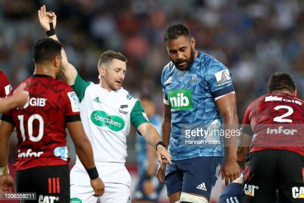 Referee Paul Williams during the round 3 Super Rugby match between the Blues and the Crusaders at Eden Park on February 14, 2020 in Auckland, New...