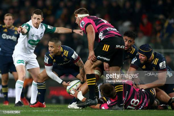 Referee Paul Williams in action during the round 1 Aotearoa Super Rugby match between the Highlanders and Chiefs on June 13, 2020 in Dunedin, New...