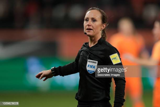 referee Pernilla Larsson during the World Cup Qualifier Women match between Holland v Switzerland at the Stadium Galgenwaard on November 9 2018 in...