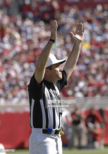 NFL referee Pete Morelli signals a field goal as the Tampa Bay Buccaneers host the Washington Redskins Nov 19 2006 in Tampa The Bucs won 20 17