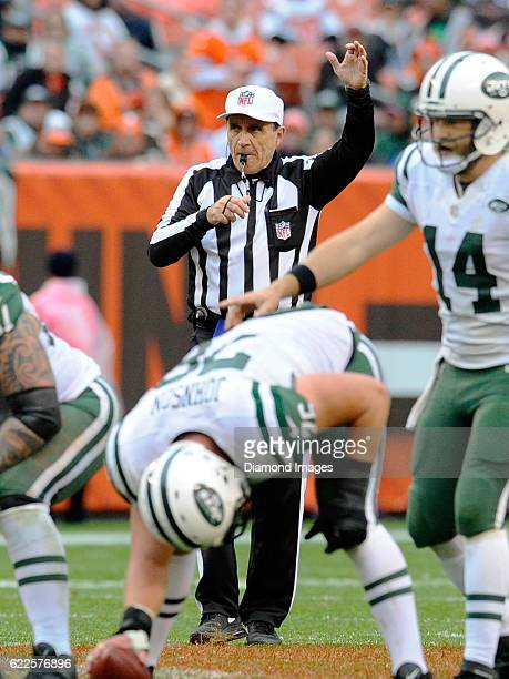 Referee Pete Morelli signals the start of play during a game between the New York Jets and Cleveland Browns on October 30 2016 at FirstEnergy Stadium...