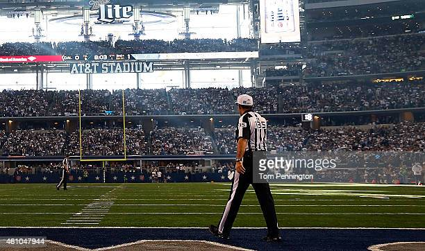 Referee Pete Morelli walks past during the first half of the NFC Wild Card Playoff game between the Dallas Cowboys and the Detroit Lions at ATT...
