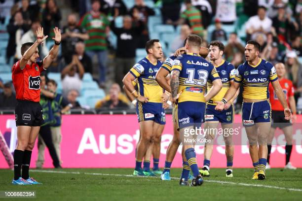 Referee Peter Gough sends Corey Norman of the Eels to the sin bin during the round 20 NRL match between the South Sydney Rabbitohs and the Parramatta...