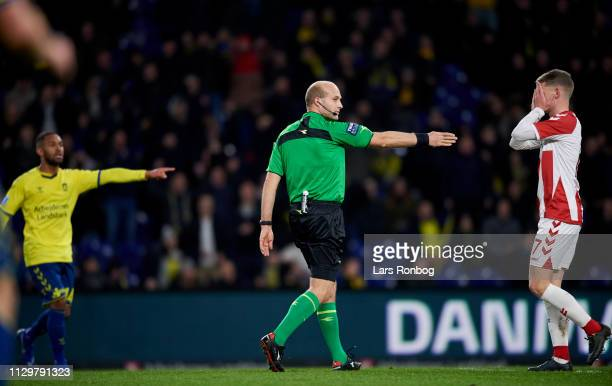 Referee Peter Kjarsgaard decides for a penalty during the Danish Superliga match between Brondby IF and AaB Aalborg at Brondby Stadion on March 10...