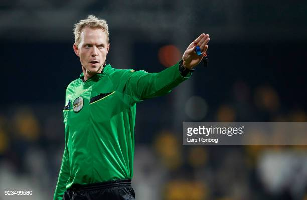 Referee Peter Munch Larsen in action during the Danish Alka Superliga match between AC Horsens and Randers FC at CASA Arena Horsens on February 23...