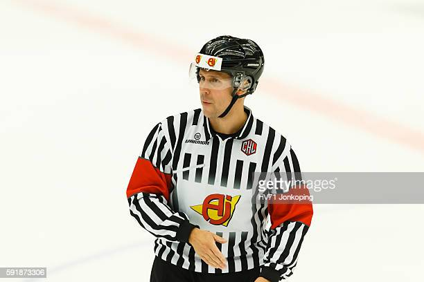 Referee Petri Lindqvist looks on during the Champions Hockey League match between HV71 Jonkoping and Sheffield Steelers at Kinnarps Arena on August...