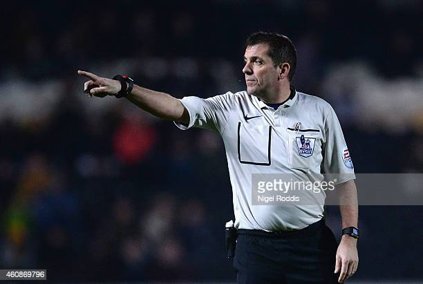 Referee Phil Dowd in action during the Barclays Premier League match between Hull City and Leicester City at KC Stadium on December 28 2014 in Hull...