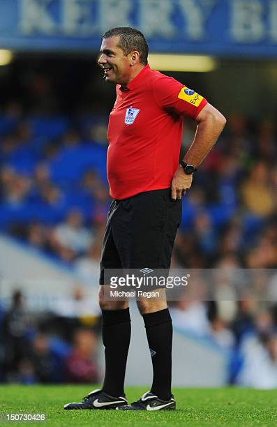 Referee Phil Dowd looks on during the Barclays Premier League match between Chelsea and Newcastle United at Stamford Bridge on August 25 2012 in...