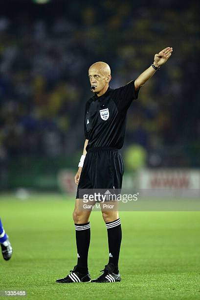 Referee Pierlugi Collina of Italy signals for a free kick during the Germany v Brazil World Cup Final match played at the International Stadium...