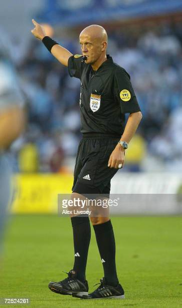 Referee Pierluigi Collina during the UEFA Cup Final match between Valencia and Olympique de Marseille at the Ullevi Stadium on May 19 2004 in...