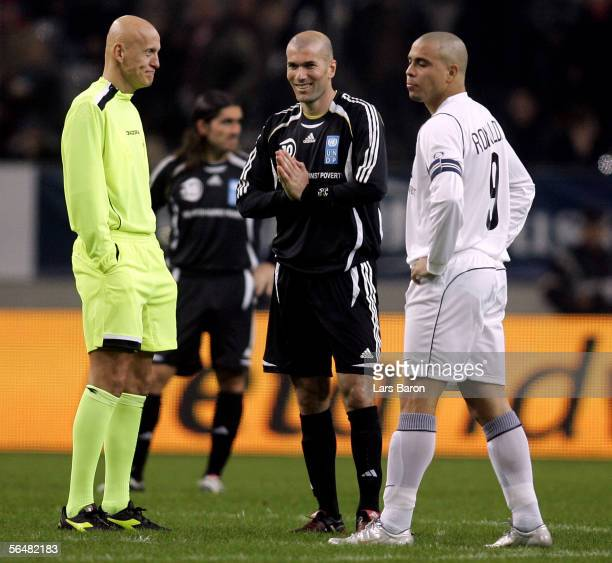 Referee Pierluigi Collina is seen with Zinedine Zidane and Ronaldo during the benefit game Match Against Poverty between Ronaldo Friends and Zidane...