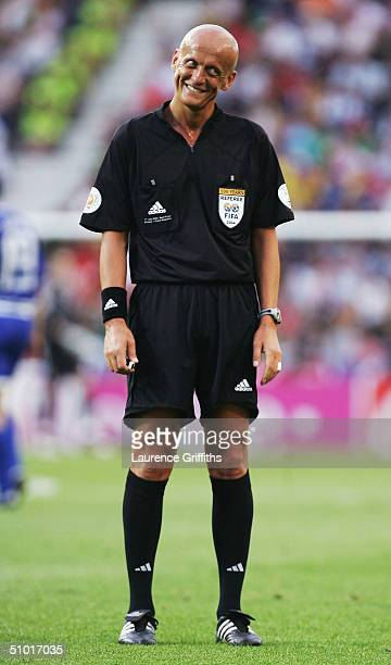 Referee Pierluigi Collina laughs during the UEFA Euro 2004 Semi Final match between Greece and the Czech Republic at the Dragao Stadium on July 1...