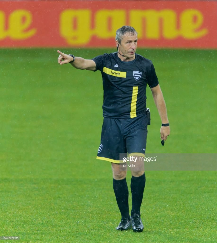 Referee pointing : Foto de stock