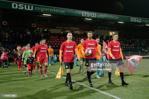 Referee Pol van Boekel, assistant referee Nils van Kampen , assistant referee Joris Westhof during the Dutch Keuken Kampioen Divisie match between...