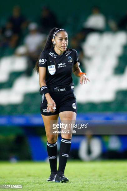 Referee Priscila Perez Borja looks on during a match between Leon and FC Juarez as part of the friendly tournament Copa Telcel at Leon Stadium on...