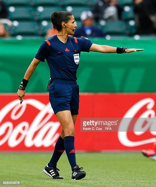 Referee Quetzalli Alvarado of Mexico in action during the FIFA U20 Women's World Cup Canada 2014 match between China PR and Germany at Commonwealth...